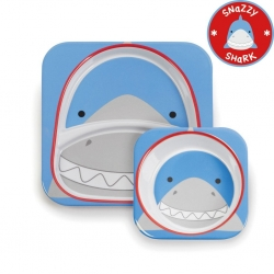 จานและชามบรรจุอาหารสุดน่ารัก Skip Hop รุ่น Zoo Melamine Set (Shark)