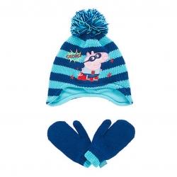 ชุดหมวกไหมพรมและถุงมือสำหรับเด็ก mothercare George Pig Trapper and Mittens