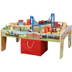 โต๊ะกิจกรรมเอนกประสงค์พร้อมชุดโมเดลรถไฟ Maxim 50-Piece Train Set with 2-in-1 Activity Table