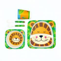 ชุดรับประทานอาหารปลอดสารพิษจากเยื่อไผ่ธรรมชาติ Yookidoo Natural Bamboo Fiber Kid Picnic Set (Lion)
