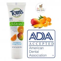 ยาสีฟันผสมฟลูออไรด์สำหรับเด็ก Tom's of Maine Natural Children's Fluoride Toothpaste (Outrageous Orange Mango)