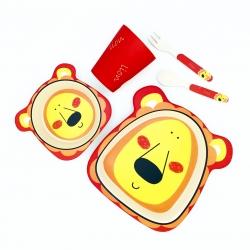 ชุดรับประทานอาหารปลอดสารพิษจากเยื่อไผ่ธรรมชาติ Yookidoo Natural Bamboo Fiber Kids Set (Lion)