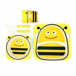 ชุดรับประทานอาหารปลอดสารพิษจากเยื่อไผ่ธรรมชาติ Yookidoo Natural Bamboo Fiber Kid Picnic Set (Bees)