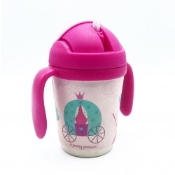 แก้วบรรจุเครื่องดื่มแบบหลอดพร้อมมือจับชนิดปลอดสารพิษ Yookidoo Natural Bamboo Fibre Straw Cup (Pretty Princess)