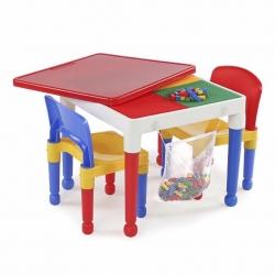 *ตำหนิ* โต๊ะเลโก้เอนกประสงค์ทรงเหลี่ยม Tot Tutors 2-in-1 Plastic LEGO Compartible Activity Table & 2 Chairs Set