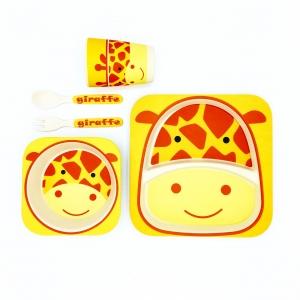 ชุดรับประทานอาหารปลอดสารพิษจากเยื่อไผ่ธรรมชาติ Yookidoo Natural Bamboo Fiber Kid Picnic Set (Giraffe)