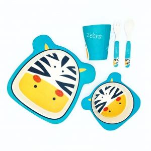 ชุดรับประทานอาหารปลอดสารพิษจากเยื่อไผ่ธรรมชาติ Yookidoo Natural Bamboo Fiber Kids Set (Zebra)