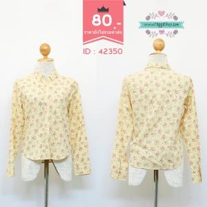 (ID 4283 จองคะ) 42350 size36 เสื้อเชิ้ตสีเหลืองพิมพ์ลาย
