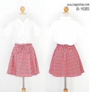 45885 อก36 เดรสสีขาวแดง(id 6147 จองคะ)