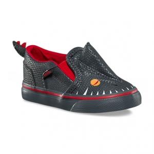 รองเท้าผ้าใบสำหรับเด็ก VANS Toddler Asher V Asphalt/Racing Red