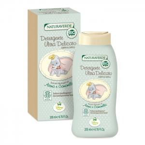 สบู่อาบน้ำและสระผมสูตรอ่อนโยนพิเศษ Naturaverde BIO รุ่น Ultra Delicate Body & Hair Wash (บรรจุ 200ml.)