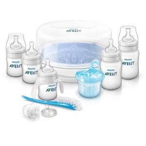 ชุดขวดนมพร้อมอุปกรณ์กำจัดเชื้อโรคด้วยไมโครเวฟ Philips Avent รุ่น Avent Essentials Gift Set - Classic