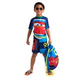เสื้อและกางเกงว่ายน้ำสำหรับเด็ก Disney Rash Guard and Swim Shorts for Boys (Cars Lightning McQueen)