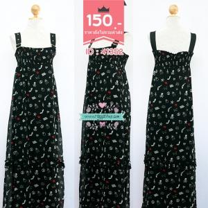 (id 3875 จองคะ) 41352 size ยางยืด เดรสยาวสีดำ