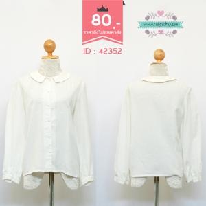 (ID 4249 จองคะ) 42352 size38 เสื้อเชิ้ตสีขาวปักลาย