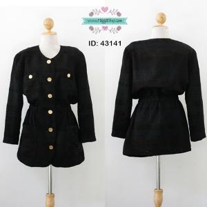 43141 size L-XL เสื้อโค้ท จั๊มเอวยางยืด ผ้าทอลายสีดำ