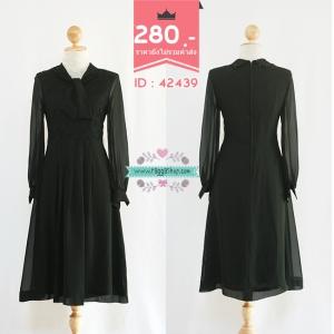(ID 4279 จองคะ) 42439 size34-27-36 เดรสลูกไม้สีดำ