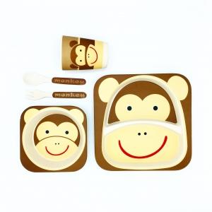ชุดรับประทานอาหารปลอดสารพิษจากเยื่อไผ่ธรรมชาติ Yookidoo Natural Bamboo Fiber Kid Picnic Set (Monkey)