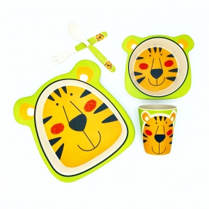 ชุดรับประทานอาหารปลอดสารพิษจากเยื่อไผ่ธรรมชาติ Yookidoo Natural Bamboo Fiber Kids Set (Tiger)