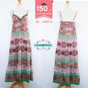 41574 size อก34-35 Maxi dress เดรสสีม่วงพิมพ์ลายสายเดี่ยว Maxi dress