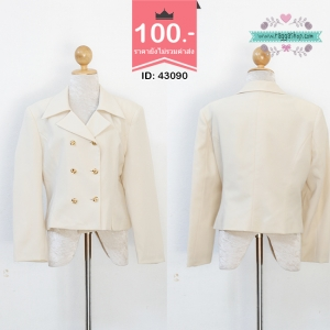 (Id 4700 จองคะ) 43090 size40-42 เสื้อสูทสีครีม