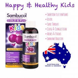 วิตามินเสริมภูมิคุ้มกันพร้อมต้านอาการไข้หวัด Sambucol Black Elderbery Cold & Flu Kids
