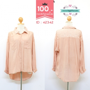 (ID 4278 จองคะ) 42342 size46 เสื้อตัวยาวสีชมพู