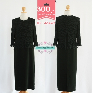 (ID 4279 จองคะ) 42443 size40-34-42 เดรสสีดำลูกไม้