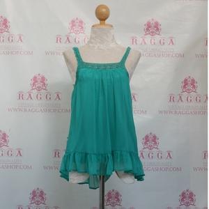 ( id 3789 จองคะ)35488 เสื้อสายเดี่ยวสีเขียว