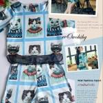 พร้อมส่ง fashion import chicysetเกาหลี เสื้อ+กางเกง สไตล์เซเลป งานป้ายนำเข้า สวยหรูตามแบบเป๊ะเสื้อผ้าไหมญี่ปุ่น ลายแมว แต่งผ้าแก้วนิ่มที่ชายเสื้อ กางเกงผ้าเดียวกัน กระดุมหน้ากระเป๋า2ข้าง ทรงสวย สวยหรูงานดีเป๊ะ ไม่ผิดหวัง