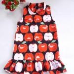 Mini dress คอเต่า ทรงสวิง ชายระบาย ซิบหลัง ผ้ามิลิน ลายแอปเปิ้ล