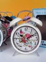 นาฬิกาตั้งโต๊ะ สไตล์วินเทจสีครีม ลายดอกไม้ ไซส์ L