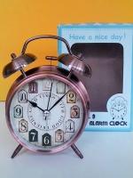 ของขวัญปีใหม่ 2559 นาฬิกาปลุกสไตล์วินเทจ ตั้งโต๊ะ ไซส์ L สีทองแดง