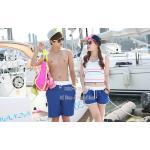 กางเกงเที่ยวทะเล กางเกงขาสั้น กางเกงคู่ สีน้ำเงิน