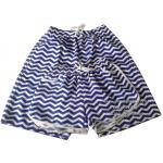 กางเกงเที่ยวทะเล กางเกงขาสั้น กางเกงคู่ สีฟ้า-ขาว