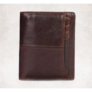 กระเป๋าสตางค์หนังแท้ ผู้ชาย ทรงตั้ง สีน้ำตาลเข้ม Ven Leather Insert