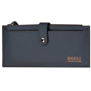 กระเป๋าสตางค์บุรุษ หนังแท้ BOGESI ทรงยาว สีน้ำเงิน