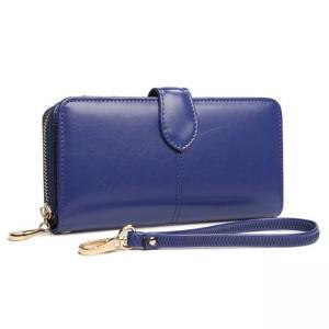 กระเป๋าสตางค์หนังแท้ สตรี ทรงยาว หนังนุ่ม สีน้ำเงิน มีซิป