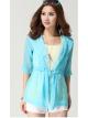 เสื้อเที่ยวทะเล เสื้อคลุมสีฟ้ามีฮู๊ด แขนสามส่วนลายลูกไม้