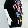 FQ&L เสื้อยืดสีดำสกรีนลายตัวอักษรสียาง