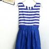 Mini dress แขนกุดลายทาง ตัดเย็บติดกระโปรงสีน้ำเงิน สม็อครอบเอว อก34 เอว32 ยาว33