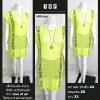 เสื้อไหมพรม ตัวยาว สีเขียว สกรีนด้านหน้า คำว่า true of all จั๊มปลาย ผ่าปลายด้านหลัง (ไม่ผ่านQC)