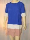 MNG เสื้อแขนสั้นสีน้ำเงิน ผ้าแนวชีฟอง มีซิบหลัง