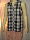 DEFRY 01 เสื้อเชิ๊ตสตรี แขนกุด ลายสก๊อตสีเทา