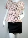 KOKO club เสื้อทรงเบลาซ์ แขนสั้น สีเลือดหมูปักลายดอกไม้ด้ายสีขาว รูดซิบหลังได้จนสุดถอดซิบได้