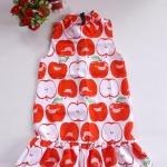 Mini dress คอเต่า ทรงสวิง ชายระบาย ซิบหลัง ผ้ามิลิน ลายแอปเปิ้ล พื้นขาว