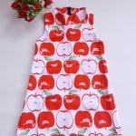 Mini dress คอเต่า ทรงสวิง ชายตรง ซิบหลัง ผ้ามิลิน ลายแอ๊ปเปิ้ล พื้นสีขาว
