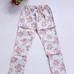 กางเกงขายาวผ้าซันเวฟ เอวผูก ผ้ายืดหยุ่นได้ค่ะ เอว26-36 สะโพก38-42 ยาว35 ต้นขา20 ปลายขา10 ลายดอกไม้สัเขียว