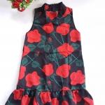 Mini dress คอเต่า ทรงสวิง ชายระบาย ซิบหลัง ผ้ามิลิน ลายกุหลาบ
