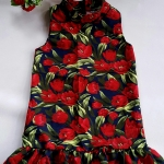 Mini dress คอเต่า ทรงสวิง ชายระบาย ซิบหลัง ผ้ามิลิน ลายทิวลิป
